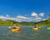 Jeszcze inne zdjęcie jednej z najlepszych atrakcji Bieszczad jaką jest spływ kajakami po rzece San.