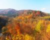 Widok na rezerwat przygody Łokieć w Duszatynie, największy wiadukt bieszczadzkiej ciuchci - kolejki leśnej z drogi przy osuwisku. Jak widać to miejsce widokowe jest najpiękniejsze jesienią w Bieszczadach... Okolice Komańczy :-)