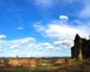 Zdjęcie panoramiczne ruin klasztornych ojców jezuitów - karmelu - w Zagórzu wykonane na wycieczce jednodniowej Wodami Rzeki San po Bieszczadach.