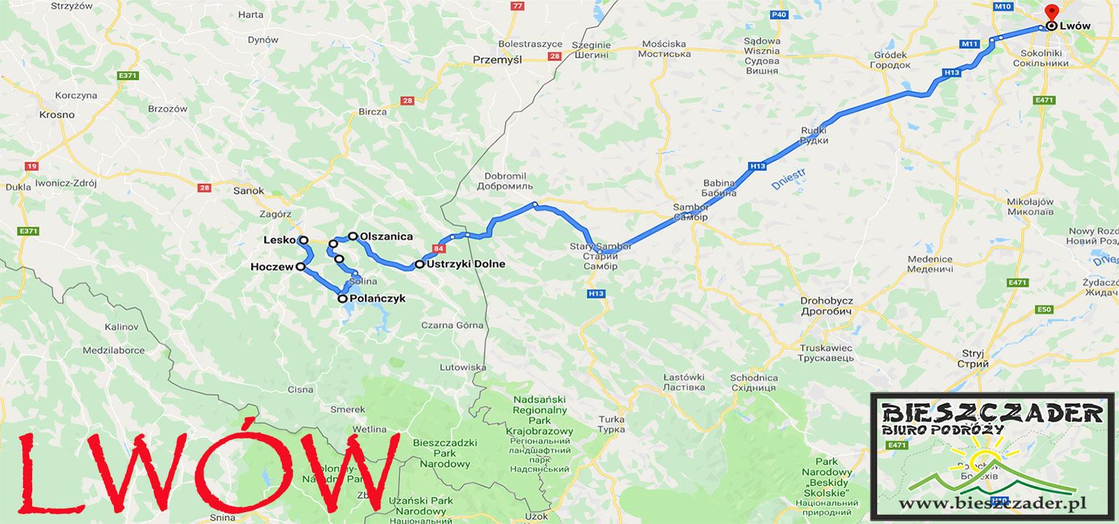 MAPA wycieczki jednodniowej z Bieszczad do LWOWA na Ukrainie