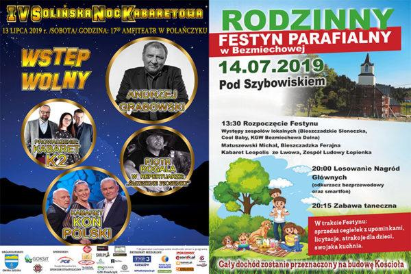 Imprezy, kabarety, pikniki na wakacjach w Bieszczadach 2019