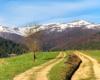 Widok z jednej z przełęczy na pasmo górskie Borżawa w połowie kwietnia. Ciekawe czy na górze będzie jeszcze po czym jeździć na nartach...