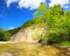 To wyjątkowe zdjęcie, bo przedstawiające zarówno ulubiony wodospad Karola Wojtyły - Jana Pawła II, jak i skałę Olza, czyli największą odkrywkę fliszu karpackiego w Karpatach.