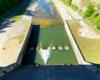 Widok z korony zapory wodnej w Sieniawie na jej dolną część z korytem rzeki Wisłok.
