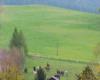 Konie na padoku patrzą na pastwisko, gdzie ich koledzy z drugiego stada w Ośrodku Jeździeckim Tarpan w Wysoczanach właśnie wyszły po raz pierwszy na trawę.