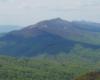 Widok z Bukowego Berda na Połoninę Caryńską i cień chmur na lasach w dolinach - poniżej łąk górskich.