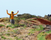 Radość wędrowcy Madzi na szlaku na Bukowym Berdzie podczas silnego wiatru - większość turystów zrezygnowało z wycieczki jednodniowej po Bieszczadzkim Parku Narodowym i wrócili do Mucznego...