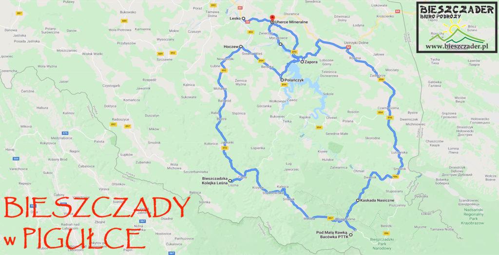 Mapa wycieczki jednodniowej po Bieszczadach z najważniejszymi atrakcjami, od której powinno się rozpocząć zwiedzanie Bieszczad: kolejka leśna, park narodowy, wodospad, zapora wodna w Solinie i rejs statkiem, a wszystko z opowieściami przewodnika.