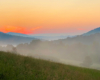 Widok z Soliny w stronę zapory wodnej w Myczkowcach tworzącej Jezioro / Zalew Myczkowiecki po zachodzie słońca...