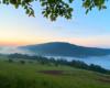 Ramka z drzew na mgły unoszące się nad Zalewem Myczkowieckim i górę Koziniec po zachodzie słońca...