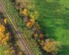 Pociąg w Bieszczady - można by nazwać to zdjęcie przedstawiającą linię kolejową z Zagórza w stronę Komańczy i pasące się konie w Ośrodku Jeździeckim Tarpan w Wysoczanach.