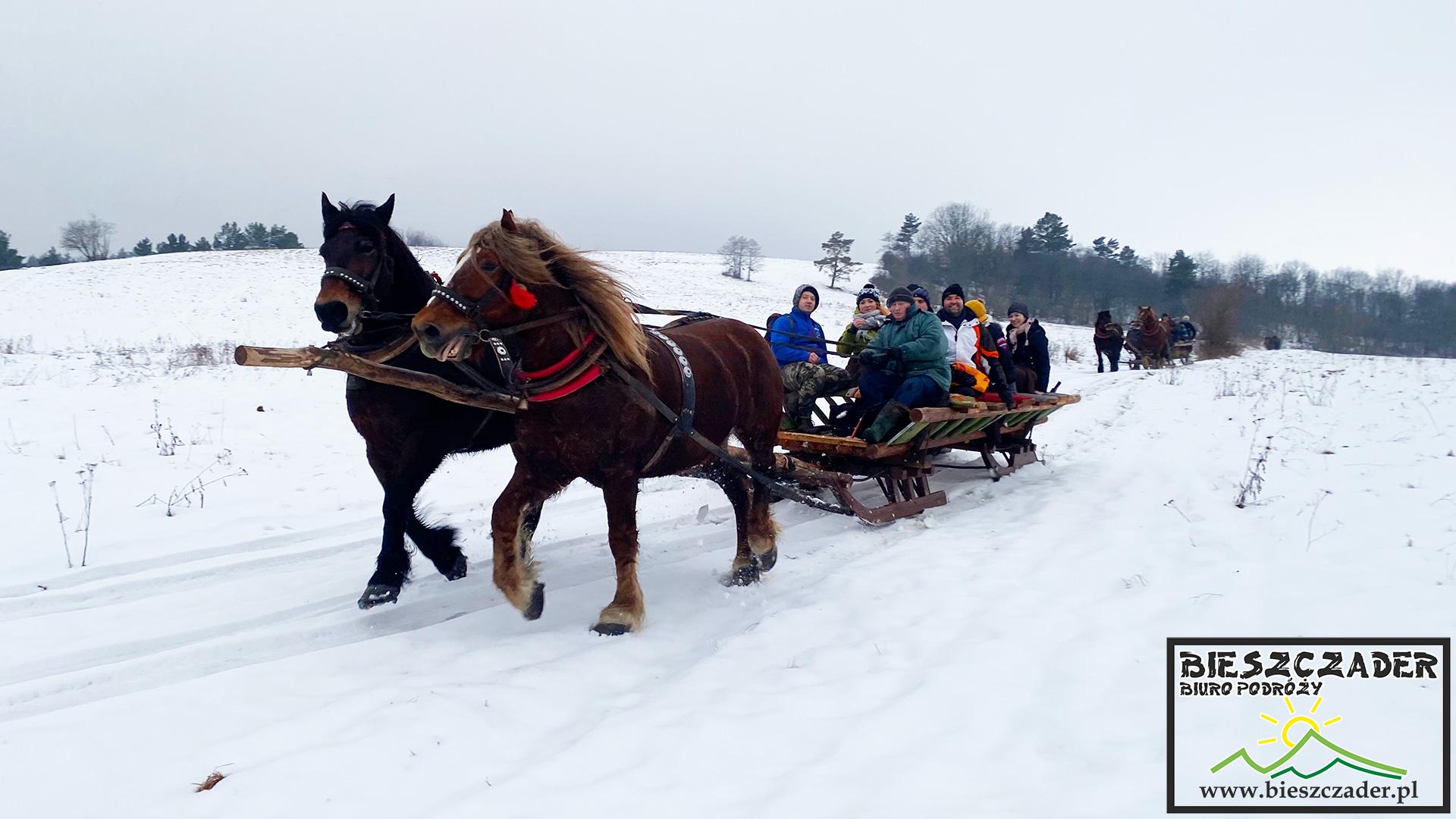 Kulig z końmi na najdłuższej i najbardziej widokowej trasie w Bieszczadach - to obowiązkowa i najlepsza atrakcja turystyczna zimą w Województwie Podkarpackim.