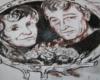 Lutek i Dorotka Pińczuk na malowidle ściennym w schronisku Chatka Puchatka - zdjęcie wykonaliśmy 9 lipca 2006.