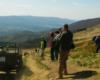 Lutek Pińczuk zjeżdżający gazikiem z Połoniny Wetlińskiej po szlaku żółtym przebiegającym w stronę Przełęczy Wyżnej - 2 maj 2007...
