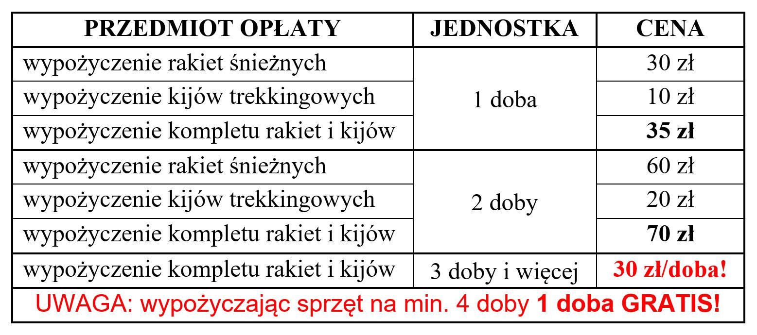 Cennik największej w Bieszczadach i z najlepszym jakościowo sprzętem wypożyczalni rakiet śnieżnych i kijów trekkingowych