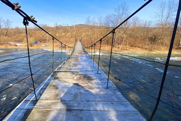 Kładka linowa w Wysoczanach nad granicą turystyczną między Bieszczadami, a Beskidem Niskim - 11 marzec 2021