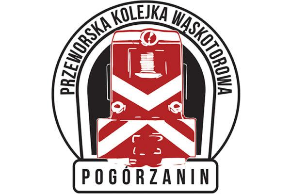 Logo kolejki wąskotorowej Pogórzanin - ciuchcia jeżdżąca najpiękniejszą trasą w Polsce.
